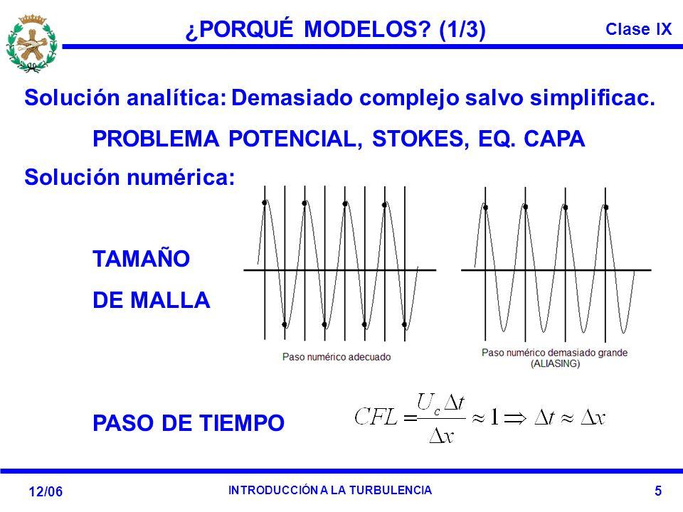 ¿PORQUÉ MODELOS (1/3) Solución analítica: Demasiado complejo salvo simplificac. PROBLEMA POTENCIAL, STOKES, EQ. CAPA.