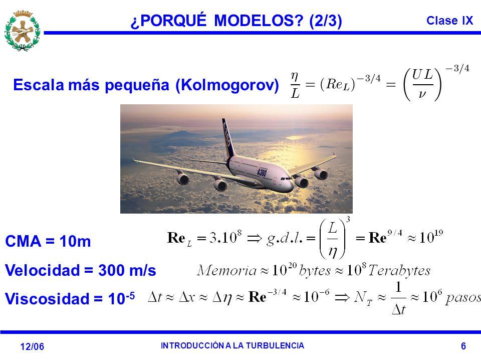 ¿PORQUÉ MODELOS. (2/3) Escala más pequeña (Kolmogorov): CMA = 10m.