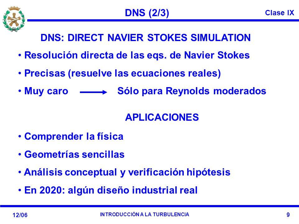 DNS (2/3) DNS: DIRECT NAVIER STOKES SIMULATION. Resolución directa de las eqs. de Navier Stokes. Precisas (resuelve las ecuaciones reales)