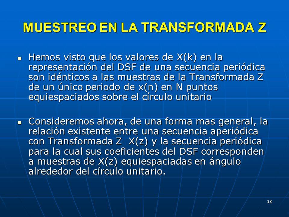 MUESTREO EN LA TRANSFORMADA Z