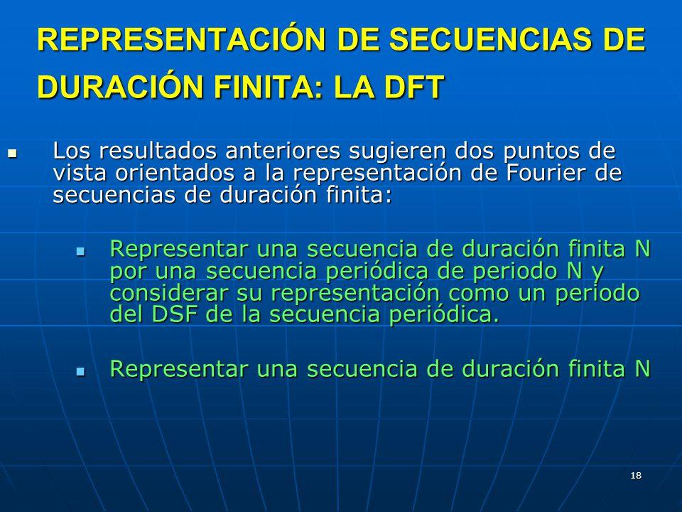 REPRESENTACIÓN DE SECUENCIAS DE DURACIÓN FINITA: LA DFT