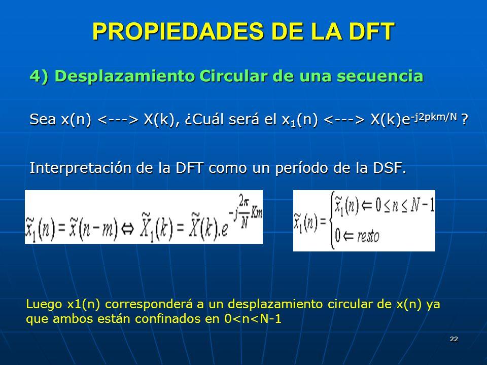 PROPIEDADES DE LA DFT 4) Desplazamiento Circular de una secuencia