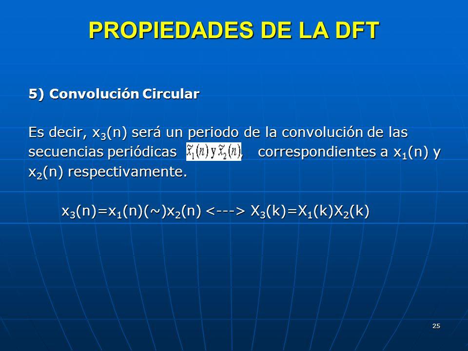 PROPIEDADES DE LA DFT 5) Convolución Circular. Es decir, x3(n) será un periodo de la convolución de las.