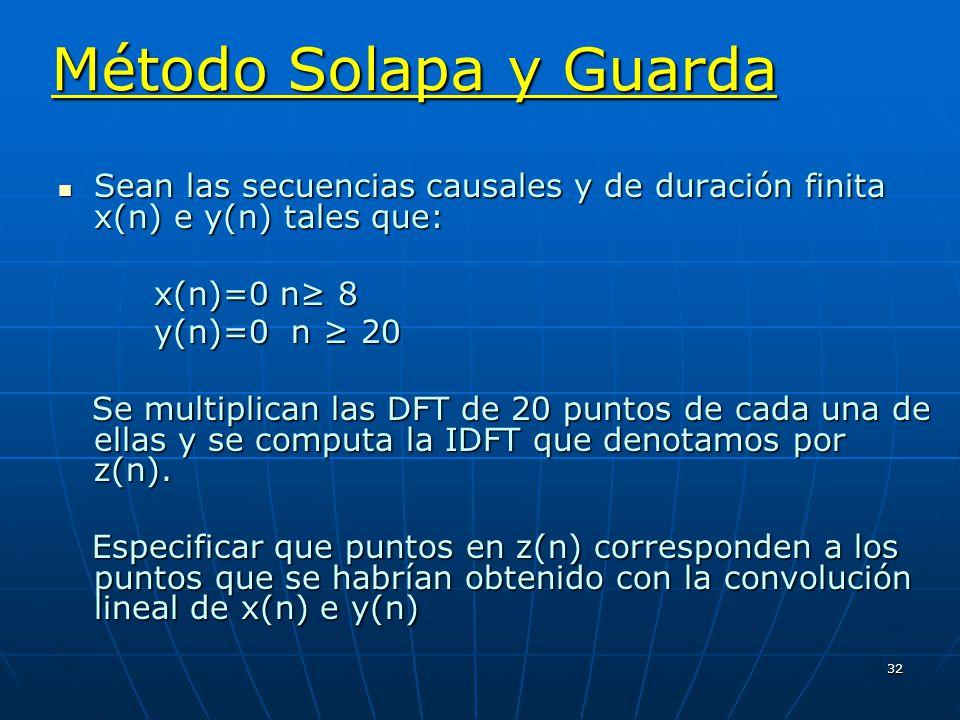 Método Solapa y Guarda Sean las secuencias causales y de duración finita x(n) e y(n) tales que: x(n)=0 n≥ 8.