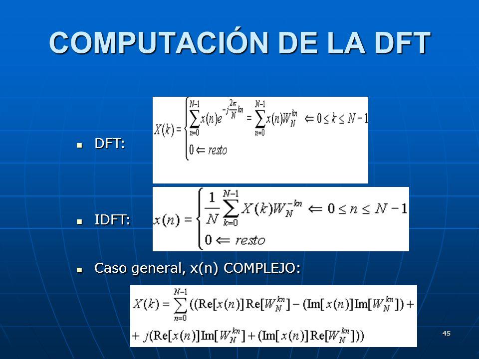 COMPUTACIÓN DE LA DFT DFT: IDFT: Caso general, x(n) COMPLEJO: