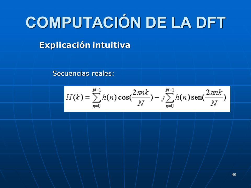 COMPUTACIÓN DE LA DFT Explicación intuitiva Secuencias reales: