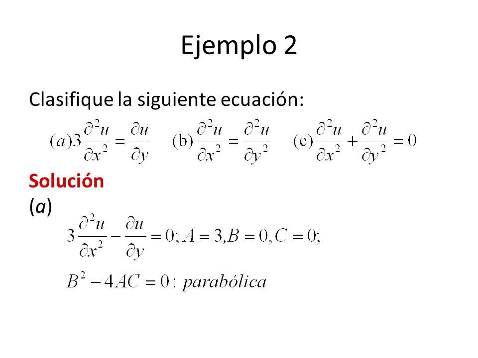 Ejemplo 2 Clasifique la siguiente ecuación: Solución (a)