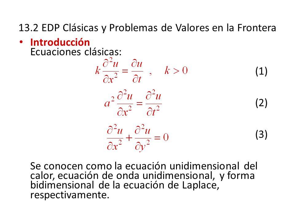 13.2 EDP Clásicas y Problemas de Valores en la Frontera