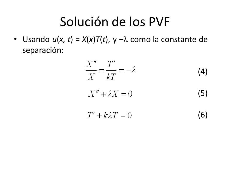 Solución de los PVF Usando u(x, t) = X(x)T(t), y − como la constante de separación: (4) (5) (6)
