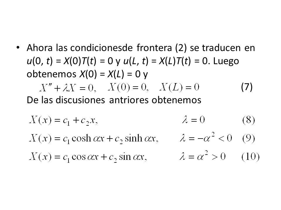 Ahora las condicionesde frontera (2) se traducen en u(0, t) = X(0)T(t) = 0 y u(L, t) = X(L)T(t) = 0.