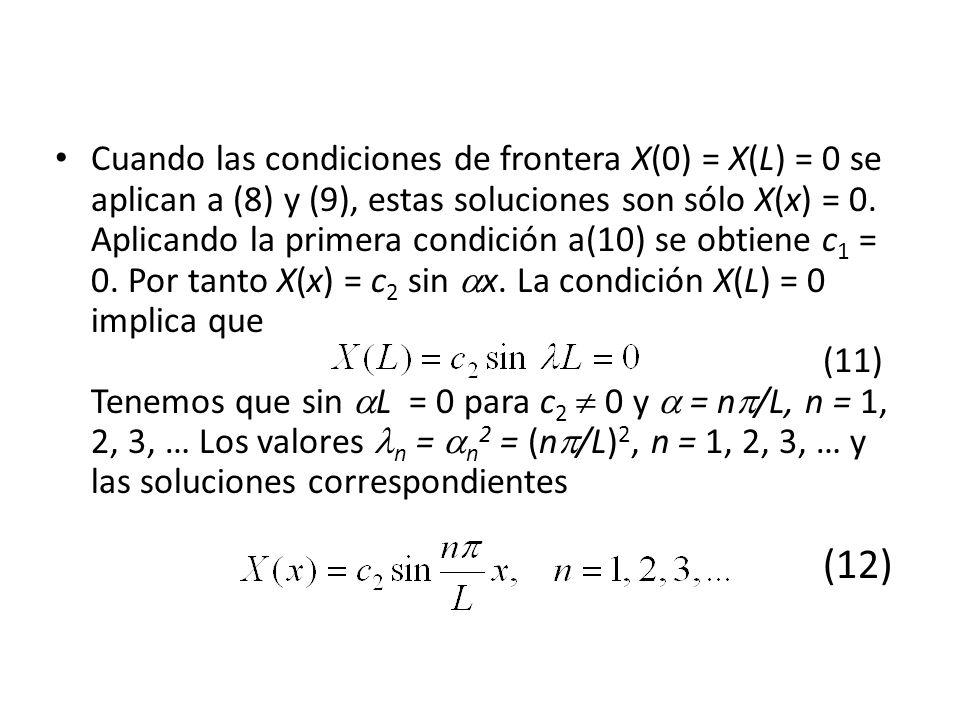 Cuando las condiciones de frontera X(0) = X(L) = 0 se aplican a (8) y (9), estas soluciones son sólo X(x) = 0.