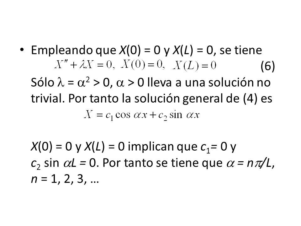 Empleando que X(0) = 0 y X(L) = 0, se tiene