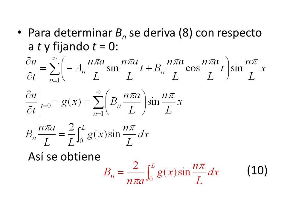 Para determinar Bn se deriva (8) con respecto a t y fijando t = 0: Así se obtiene (10)