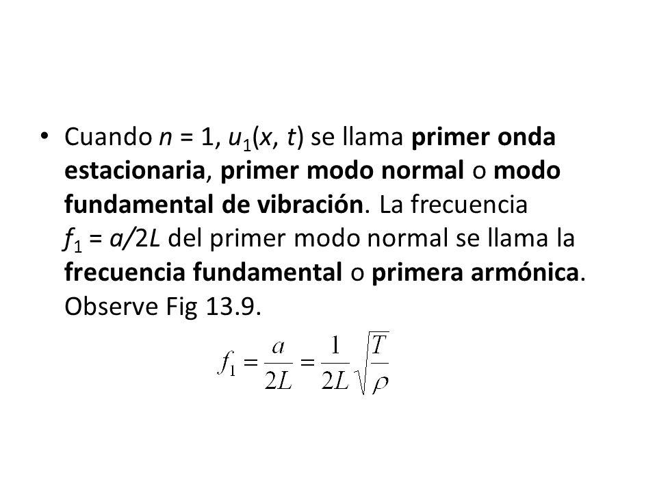 Cuando n = 1, u1(x, t) se llama primer onda estacionaria, primer modo normal o modo fundamental de vibración.