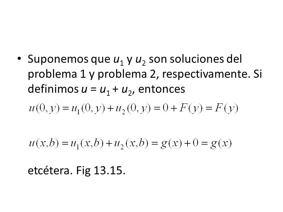 Suponemos que u1 y u2 son soluciones del problema 1 y problema 2, respectivamente. Si definimos u = u1 + u2, entonces