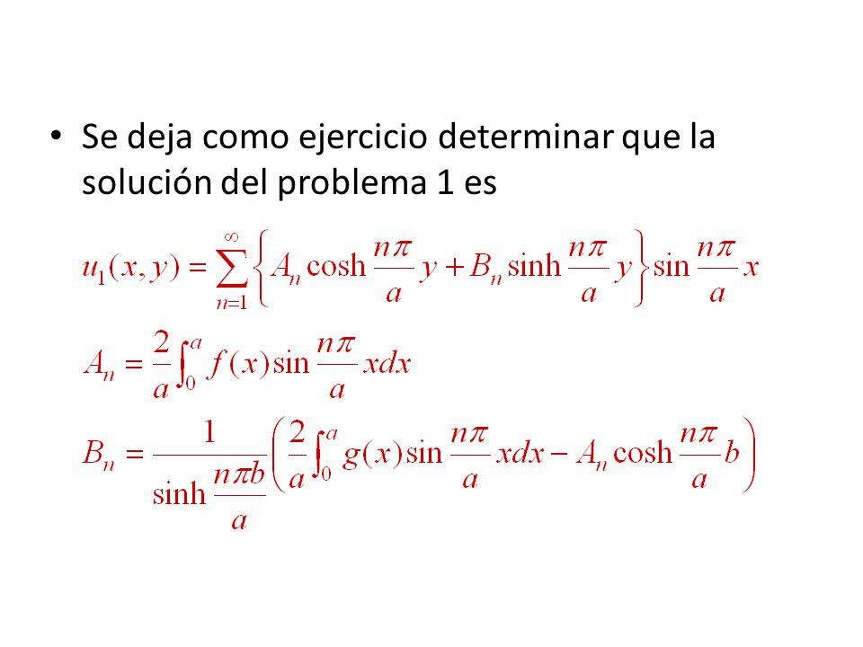 Se deja como ejercicio determinar que la solución del problema 1 es