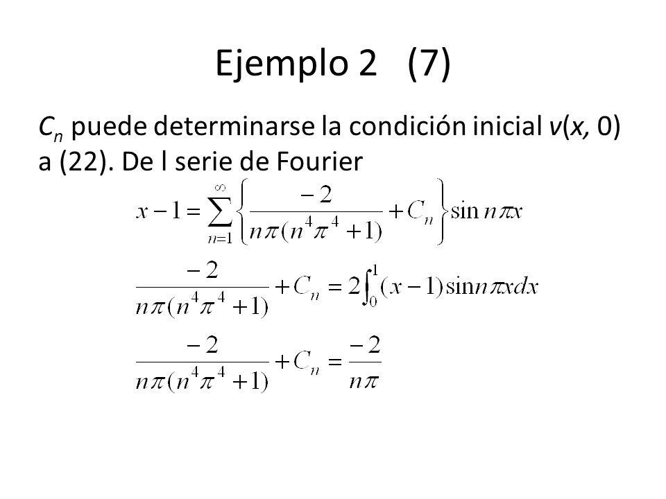 Ejemplo 2 (7) Cn puede determinarse la condición inicial v(x, 0) a (22). De l serie de Fourier