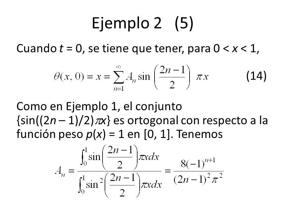 Ejemplo 2 (5) Cuando t = 0, se tiene que tener, para 0 < x < 1, (14)