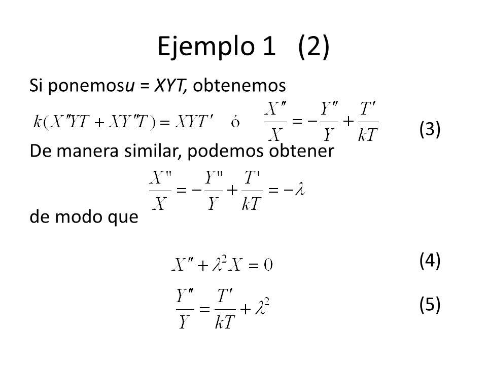 Ejemplo 1 (2) Si ponemosu = XYT, obtenemos (3) De manera similar, podemos obtener de modo que (4) (5)