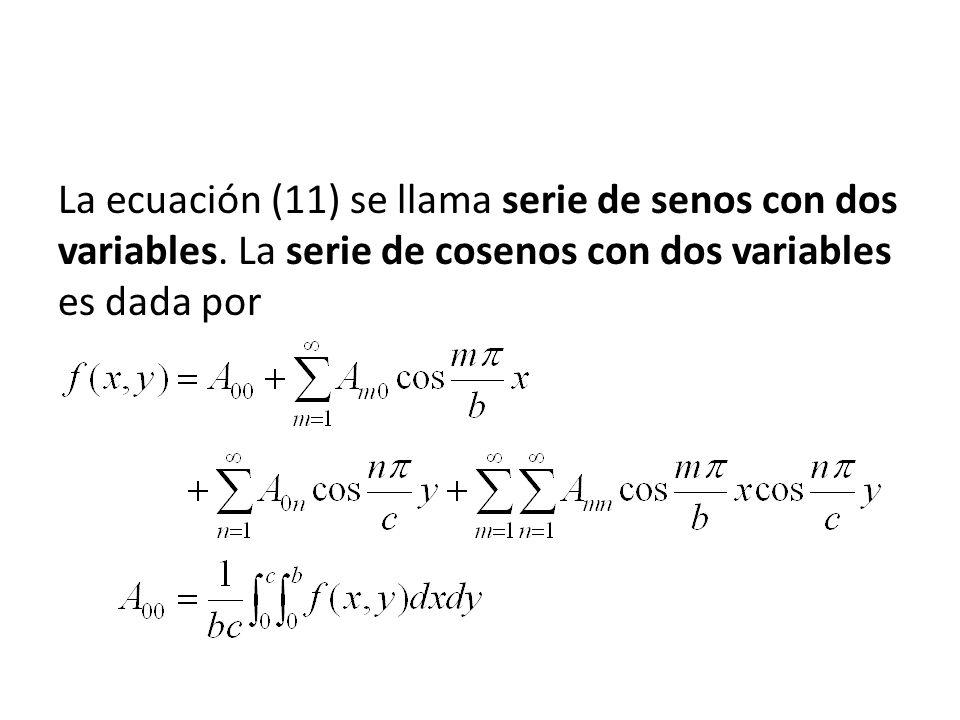 La ecuación (11) se llama serie de senos con dos variables