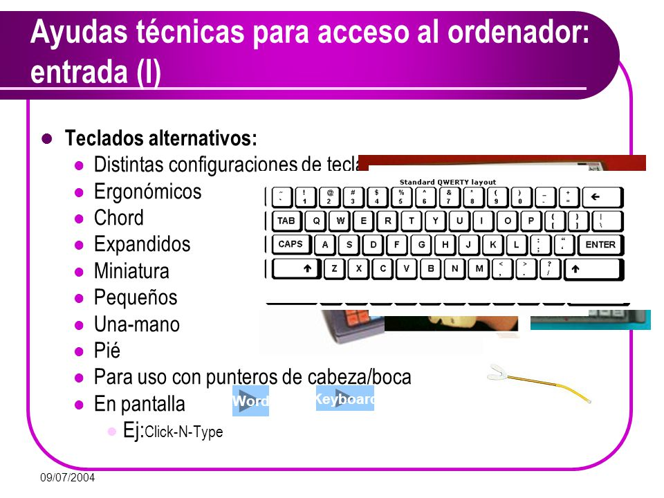 Ayudas técnicas para acceso al ordenador: entrada (I)