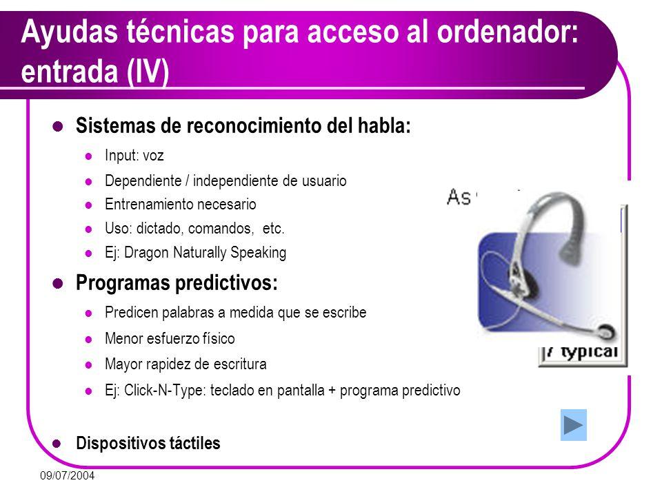 Ayudas técnicas para acceso al ordenador: entrada (IV)
