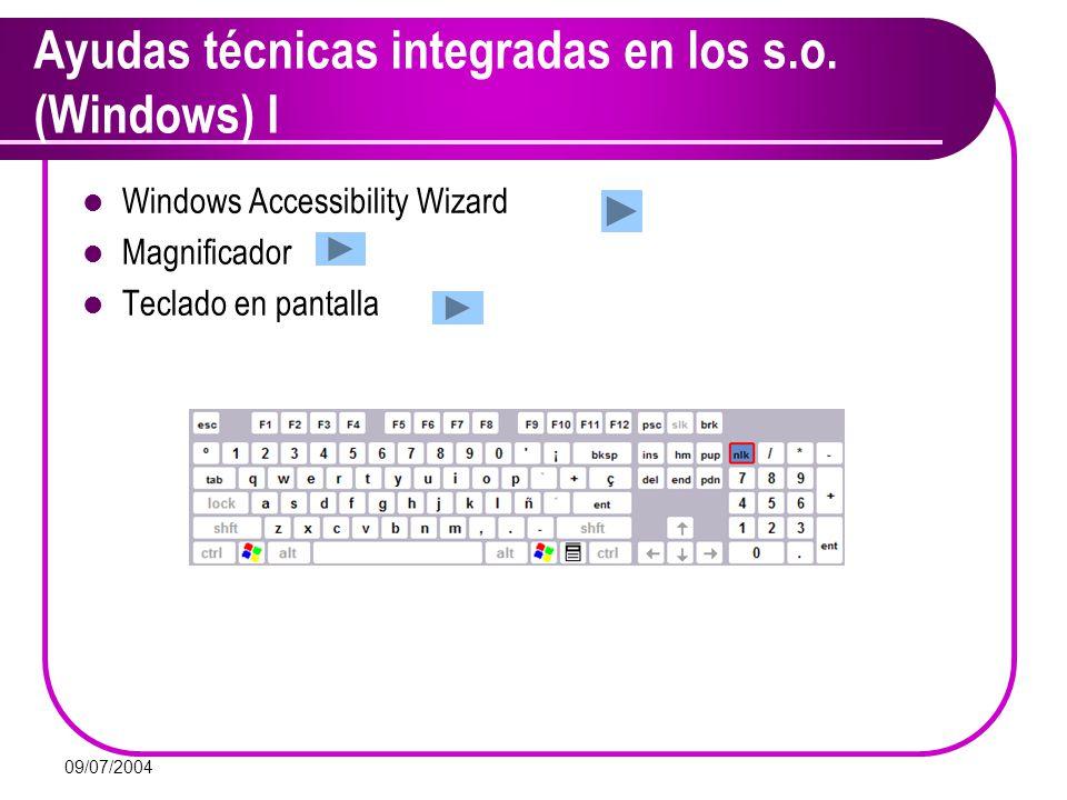 Ayudas técnicas integradas en los s.o. (Windows) I