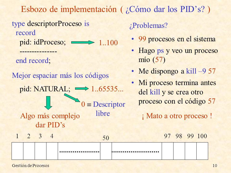 Esbozo de implementación ( ¿Cómo dar los PID's )
