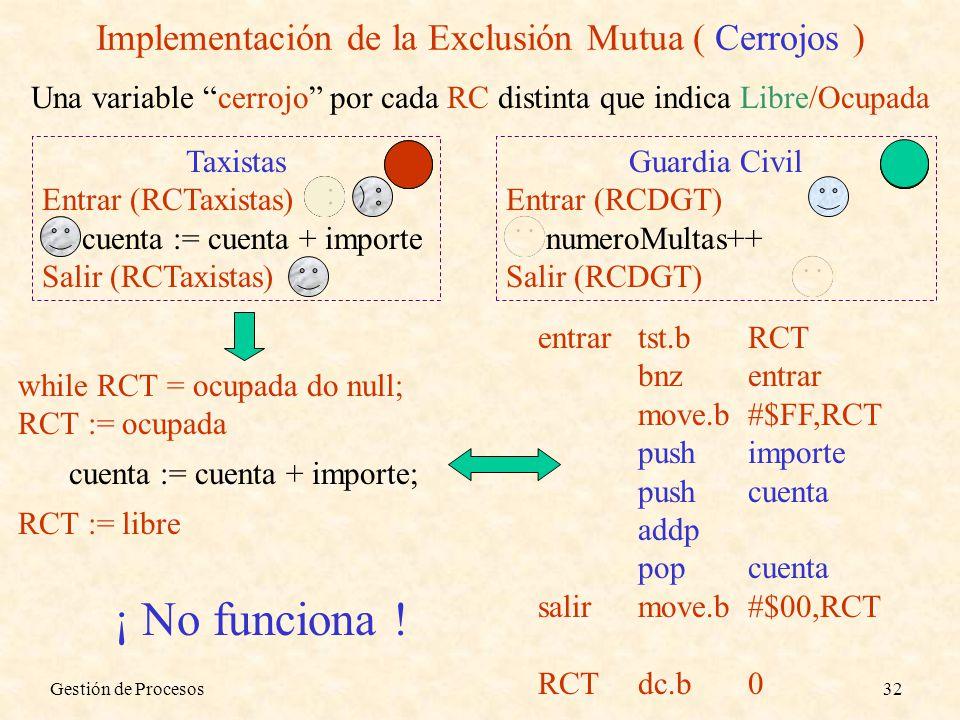 Implementación de la Exclusión Mutua ( Cerrojos )