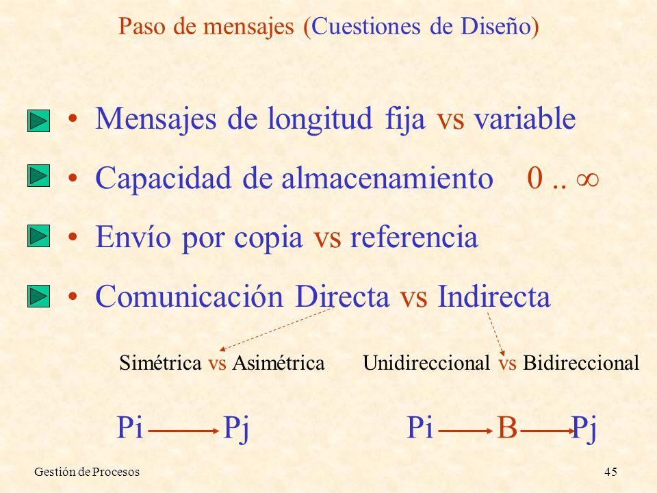 Paso de mensajes (Cuestiones de Diseño)