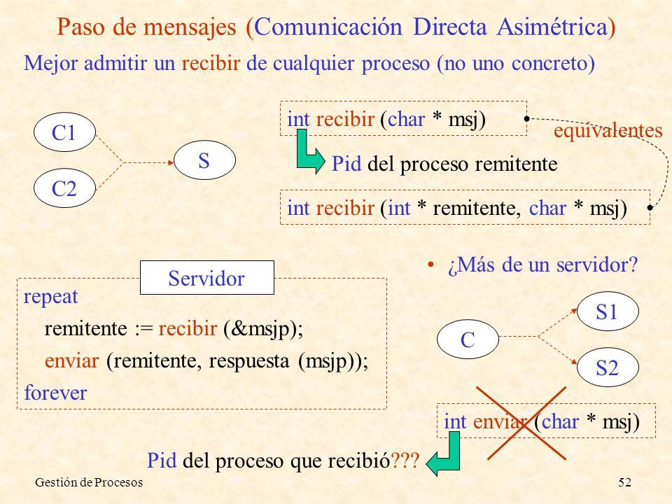 Paso de mensajes (Comunicación Directa Asimétrica)
