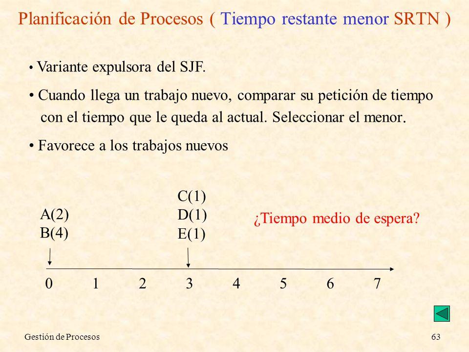 Planificación de Procesos ( Tiempo restante menor SRTN )