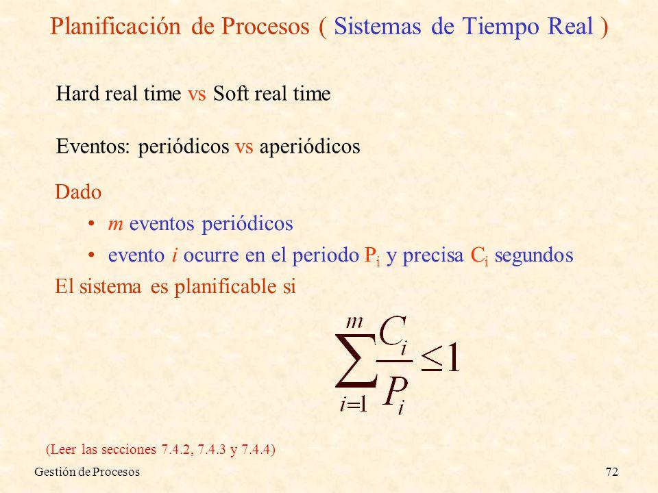 Planificación de Procesos ( Sistemas de Tiempo Real )