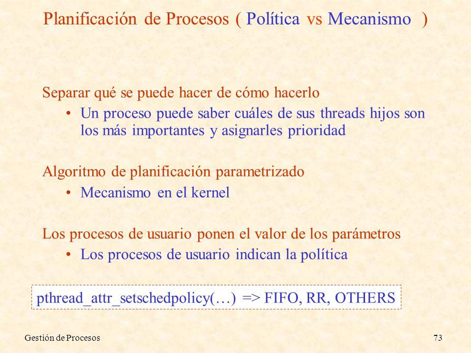Planificación de Procesos ( Política vs Mecanismo )