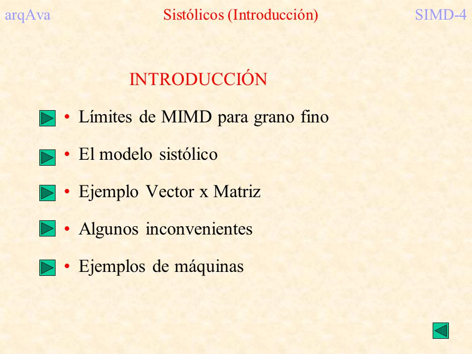arqAva Sistólicos (Introducción) SIMD-4