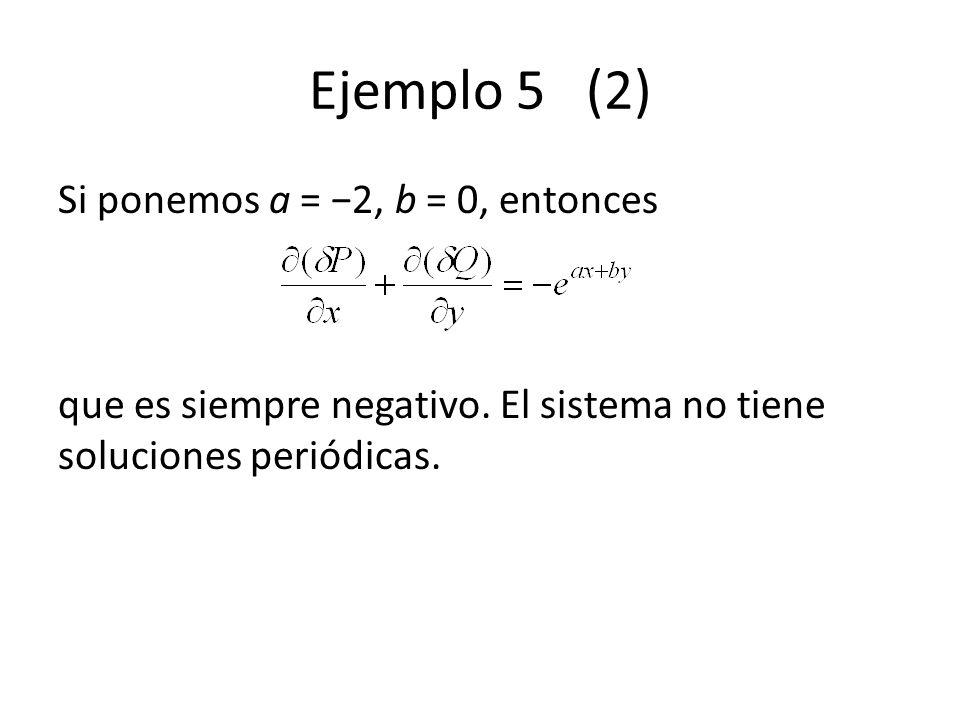 Ejemplo 5 (2) Si ponemos a = −2, b = 0, entonces que es siempre negativo.