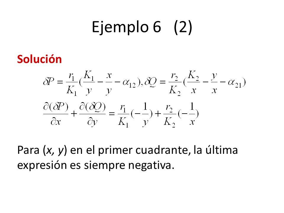 Ejemplo 6 (2) Solución Para (x, y) en el primer cuadrante, la última expresión es siempre negativa.