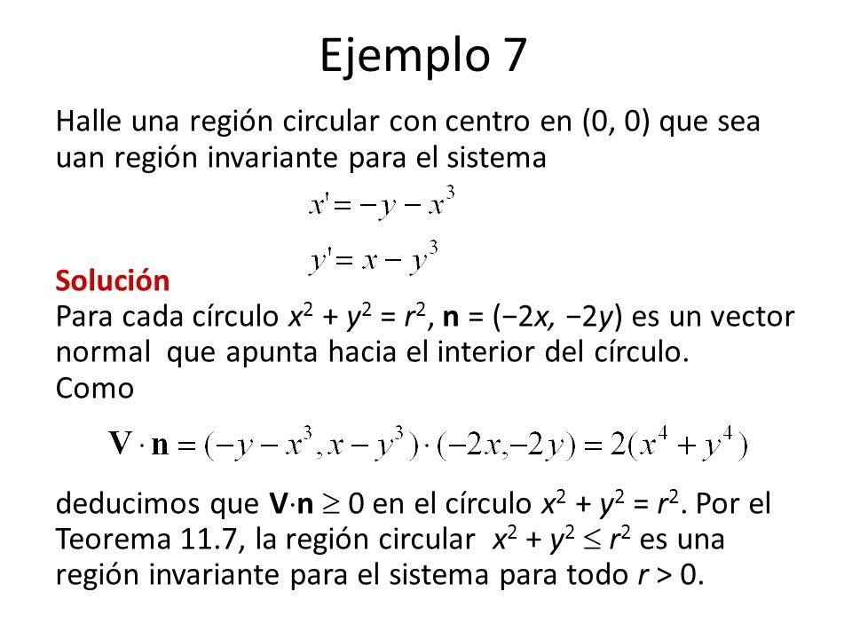 Ejemplo 7 Halle una región circular con centro en (0, 0) que sea uan región invariante para el sistema.