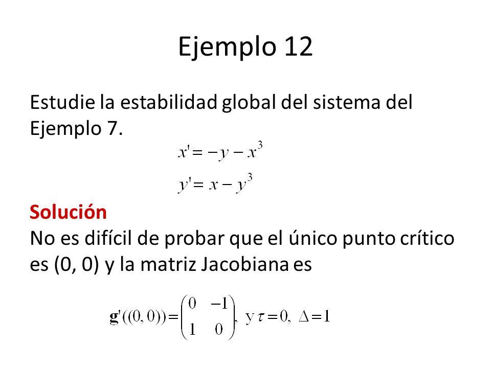 Ejemplo 12 Estudie la estabilidad global del sistema del Ejemplo 7.
