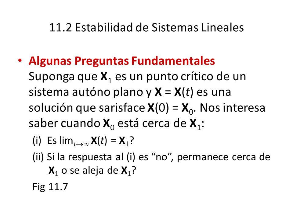 11.2 Estabilidad de Sistemas Lineales