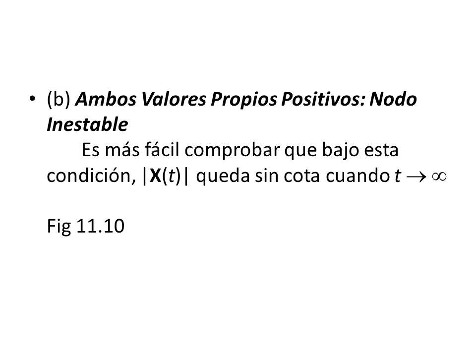 (b) Ambos Valores Propios Positivos: Nodo Inestable