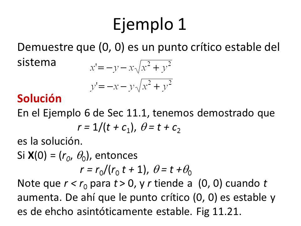 Ejemplo 1 Demuestre que (0, 0) es un punto crítico estable del sistema