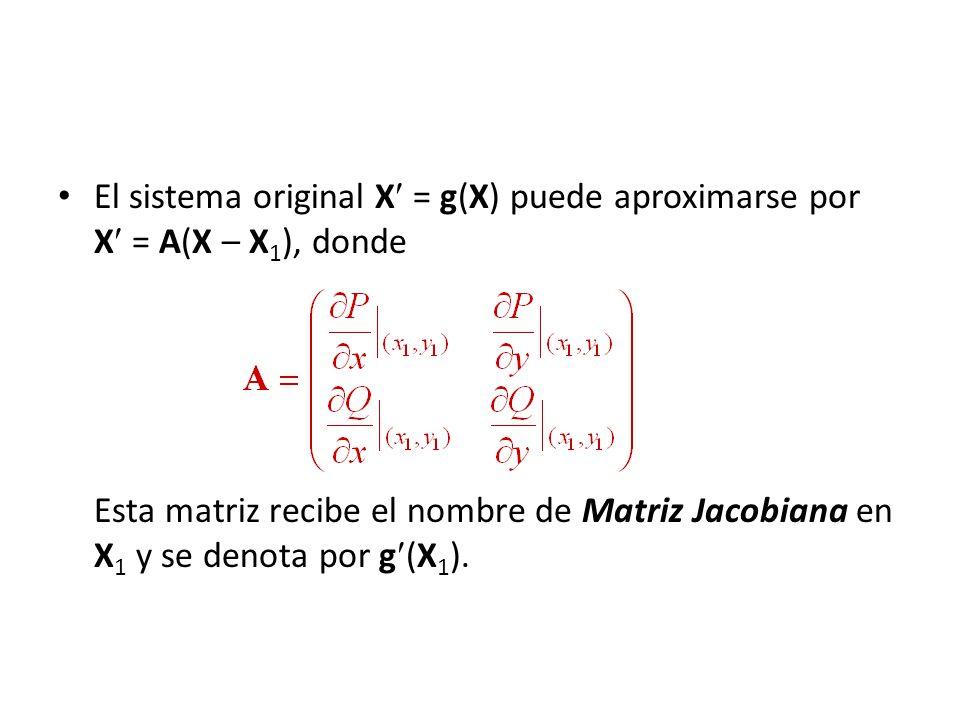 El sistema original X = g(X) puede aproximarse por X = A(X – X1), donde Esta matriz recibe el nombre de Matriz Jacobiana en X1 y se denota por g(X1).