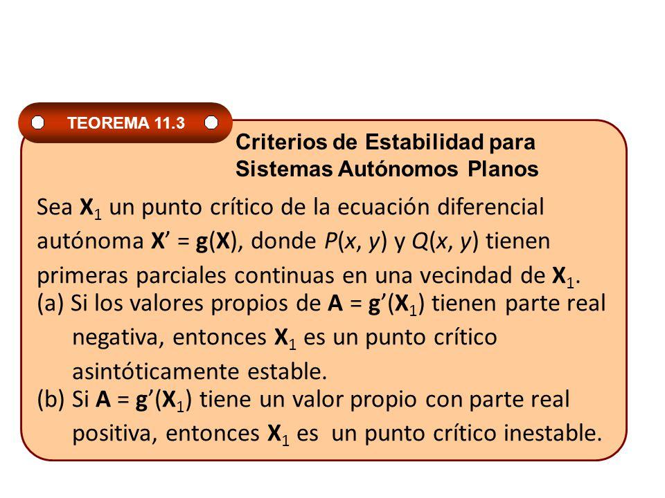 Sea X1 un punto crítico de la ecuación diferencial
