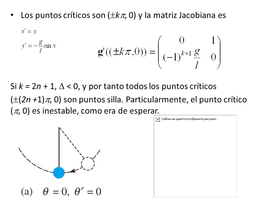 Los puntos críticos son (k, 0) y la matriz Jacobiana es