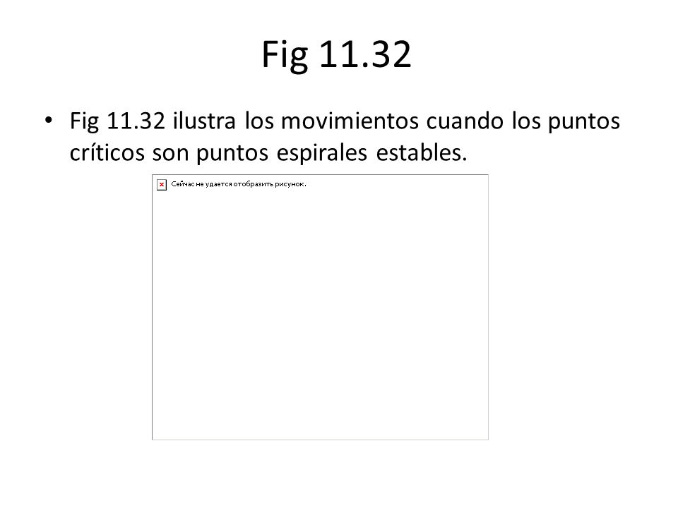 Fig 11.32 Fig 11.32 ilustra los movimientos cuando los puntos críticos son puntos espirales estables.