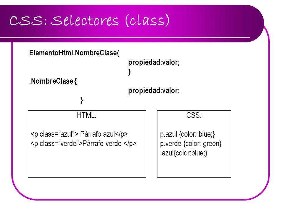 CSS: Selectores (class)