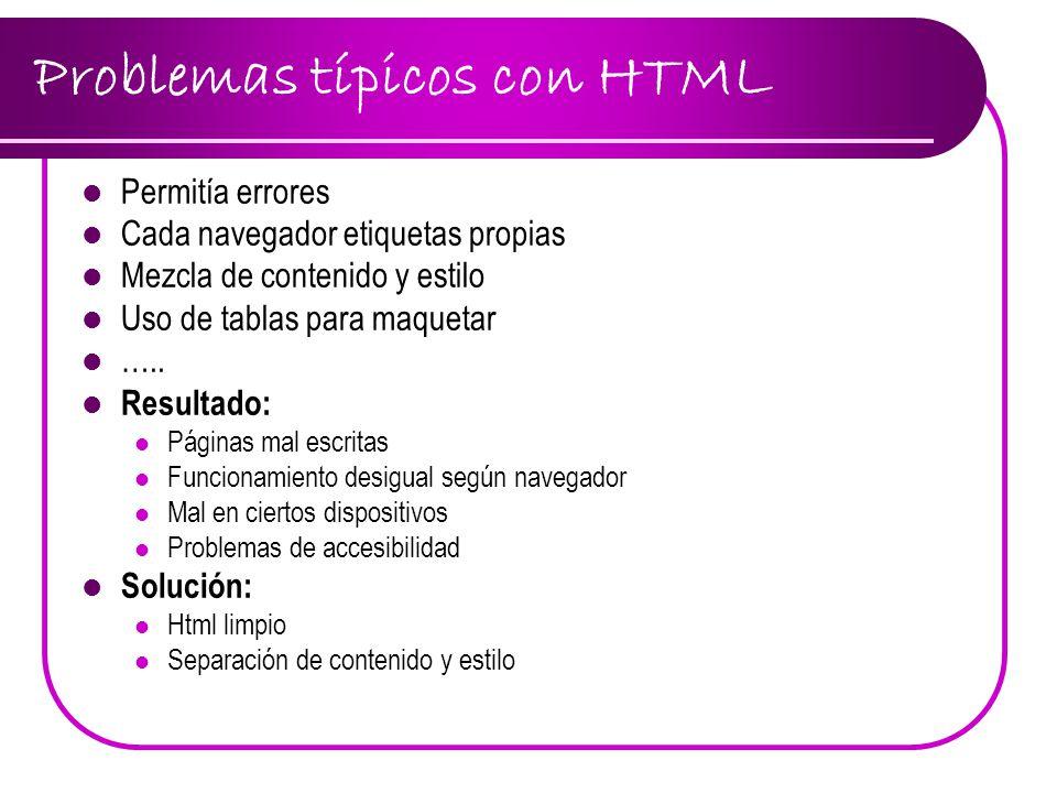 Problemas típicos con HTML