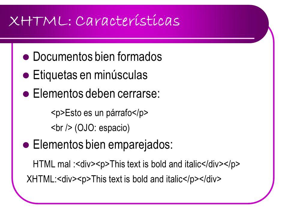 XHTML: Características
