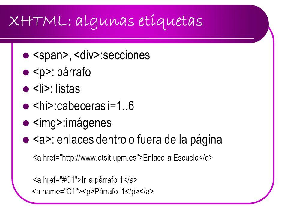 XHTML: algunas etiquetas